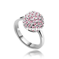Wholesale Rings for Women Ball Shape K White Gold Plated amp Pink SWA Elements Crystal Wedding Rings