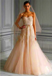 Wholesale Castle Candy - Free Shipping Hot ! 2014 Strapless Sweetheart Blush Tulle A-line Wedding Dresses Monique Lhuillier Candy Bridal Gown Dresses