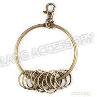 Wholesale x Antique Bronze Plated Key Ring Clasp Metal Key Circles Fit Keychain Charms mm