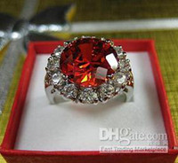 Wholesale Power Fashion Beautiful Jewelry Ruby Round gemstone KT White Gold filled Gemstone Ring