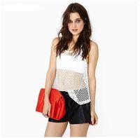 Cheap Fashion street punk sexy fashion loose mid waist elastic waist solid color PU women pants clothes