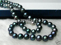 natural black 7-8mm akoya pearls necklace 16-20inches