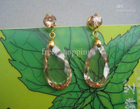 Wholesale womens gorgeous hanging earrings one pair with real clear champagne brown gemstone party jewelry new