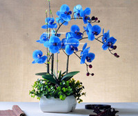Royal Blue & White & Purple home office furniture - Christmas CM PU Real Touch Artificial Flower Phalaenopsis Orchid Cymbidium in Wedding Home Office Furniture Decor Color FL043