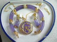 Wholesale Purple Jade KGP Bracelet Pendant Necklace Earrings Gemstone Jewelry Sets