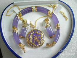 wholesale Purple Jade 18KGP Bracelet Pendant Necklace Earrings   Gemstone Jewelry Sets