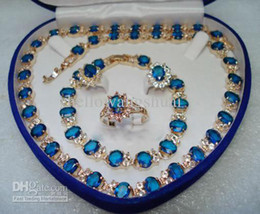 wholesale Blue Stone Sapphire Set Necklace Bracelet Earrings Ring