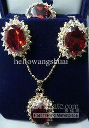 Sri Lanka Ruby necklace Earring ring Set 18K GP Jewelry Sets