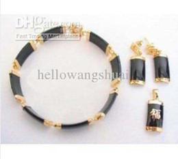 Jewelry set 18KGP black jade bracelet pendant earrings  Gemstone Jewelry Sets