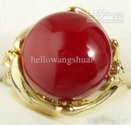 wholesale Red Jade Bead 18KGP Gold Hand Ring Size: 7.8.9.10