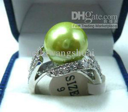 wholesale Beautiful green fresh shell pearl woman's ring 7#8#9#