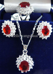 Red Ruby 18KWGP Crystal Pendant Necklace Earrings Ring Sets