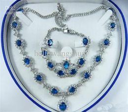 Sapphire Zircon Crystal Necklace Bracelet Earrings Ring   Gemstone Jewelry Sets