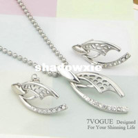Cheap Wholesale - Platinum White Gold Plated Jewelry Set Match Stainless Steel Chain New Fashion Design Cicada Wings[ 7V S630]