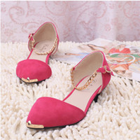 Wholesale Women fashion metal toe low heeled pointed shoes women s thin heels sandals ladies princess style shoes