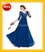 V-Neck autumn ribbon - 2016 Sexy Royal Blue V Neck Long Lace Sleeves Empire Chiffon Mother Of The Bride Dresses Sashes Appique Evening Formal Prom Gowns