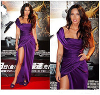 Reference Images Floor-Length Taffeta 2014 Red Carpet Dress Megan Denise Fox Purple One Shoulder Taffeta High Split Side Floor-Length Backless Party Prom Celebration Dresses