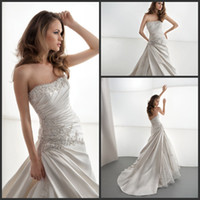 demetrios wedding dress - 2014 New Arrive Demetrios Embroidery Bead Ruched Strapless A Line Gorgeous Wedding Dresses Ivory Or White Vintage Bridal Gowns Cheap
