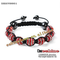 Wholesale Christmas Gift New Style mm AB Clay Circle Crystal Ball Shamballa Adjustable Bracelets Mix Color Options SHAVmix1