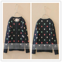 Cheap 2014 Spring Girl-Clothing Colorful Polka Dots Peach Pattern Sweater Kids Clothes Dot Heart Knitted Cardigan Jacket Children Coat Navy D1873