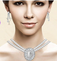 Wholesale 2014 new shell pearl necklace and earring set fashion jewelry