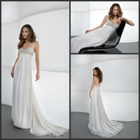 A-Line Reference Images Sweetheart 2014 Crystal Bead Sweetheart Neckline Grecian Summer Spring Chiffon Wedding Dresses Elegant Bridal Gowns Or Bridesmaid Dress Cheap Cheap