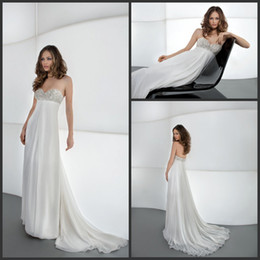Wholesale 2014 Crystal Bead Sweetheart Neckline Grecian Summer Spring Chiffon Wedding Dresses Elegant Bridal Gowns Or Bridesmaid Dress Cheap Cheap