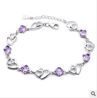 Wholesale 925 sterling silver korea fashion bracelets bangles jewery k white gold purple hearts crystal for women gifts
