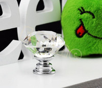 Cheap 20 pcs Lot 30mm Diamond Shape Crystal Glass Cabinet Handle Cupboard Drawer Knob Pull Wholesale TK0636