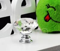 Wholesale 20 mm Diamond Shape Crystal Glass Cabinet Handle Cupboard Drawer Knob Pull TK0636