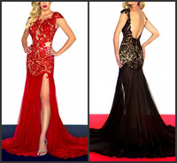 Wholesale Black Red Blue Evening Dress Strapless Sheer Top Long Party Prom Dress Sexy Pageant Gown Side Slit Open Back Lace Chiffon Party Dresses