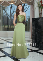 Cheap New Fashion 2014 A Line Long Sashes with Flowers Stain Strapless Lime Green Online Bridesmaid Dresses WB326