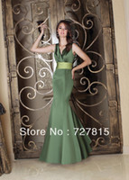 Cheap A Line Stain Floor Length Mermaid V Neck Lime Green Bridesmaid Dresses with Sashes New Fashion 2014 WB302