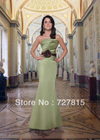 Cheap Sashes with Flowers Stain Strapless Lime Green New Fashion 2014 Online Long Mermaid Bridesmaid Dresses WB327