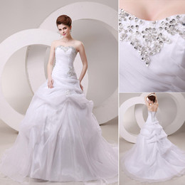 Wholesale 2014 New Arrival In Stock A Line Wedding Dresses Bridal Gown With Sweetheart Lace up Back Sequins Appliques Beading Draped Sweep Train SW028