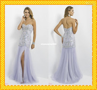 Cheap Wholesale - Custom Wow Stunning White Sweetheart Crystals Beaded mermaid Sexy Slit Long 2014 Pageant Dresses Evening Prom Party Formal Dress