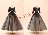 Cheap Welcomed Cheap Black In Stock Dresses With Applique Accent 2014 Scoop Sheer 1 2 Sleeves Tea-length Ball Gown Lace-up Short Prom Gowns SD036