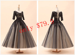 Wholesale Welcomed Cheap Black In Stock Dresses With Applique Accent Scoop Sheer Sleeves Tea length Ball Gown Lace up Short Prom Gowns SD036
