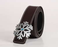 Fashion Silver Snowflake Buckle Genuine Leather Belt Waistba...