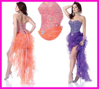 high low prom dresses - Sexy Purple Coral Crystal Sequins Sweetheart Ruffles High Low Corset Sheer Prom Party Dresses E3579
