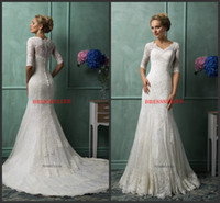 Wholesale 2014 New Coming Turkey Style Church V neck Half Long Sleeve Lace Cover Back Mermaid Sweep Train White Lace Appliques Beaded Wedding Dresses