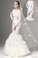 Cheap HQ Unique Famous Design Fishtail Bridal Gown 2014 Scoop Applique Puffy Skirt Full Length Church Dubai Long Sleeve Wedding Dresses Pattern