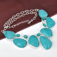 Wholesale natural gemstone turquoise handmade stone necklaces N0452