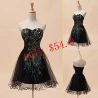 Real Photos Sweetheart Tulle Taffeta Cheap In Stock Graduation Dresses Black Sweetheart Lace-up Short Mini A-Line Prom Party Gowns Peacock Pattern Applique Pleats Accent SD039
