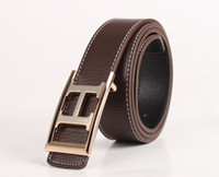 Fashion Gold H- Frame Buckle Genuine Leather Belt Waistband (...