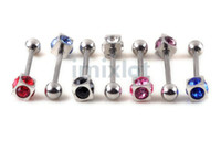 Wholesale Body Piercing Jewelry Mixed Color Tongue Piercing Stainless Steel Rings Imixlot Jewelry BB34