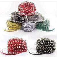 Wholesale East Knitting LD Men Women Spike Studs Rivet Cap Hat Punk Rock Hiphop Black Red White Colors For Pick