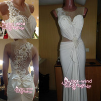 Wholesale 2014 Sexy Sheer Backless Evening Gowns Crew Neck White Chiffon Mermaid Beaded Pearls Ruffles Prom Dress Beach Wedding Dresses BO4122