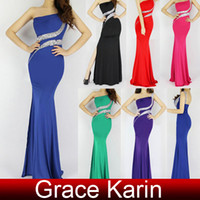 Sexy Slit Side Backelss Long Mermaid One Shoulder Pleated Be...