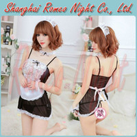 Wholesale Set of Sexy Maid Costume Dress Women Sexy Lingerie Erotic Baby Dolls Sex Suit